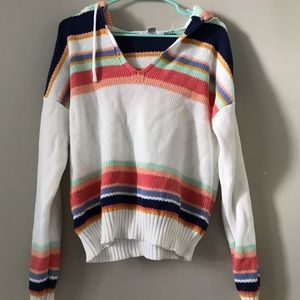 Rainbow Stripe Crop Hoodie Plus Size